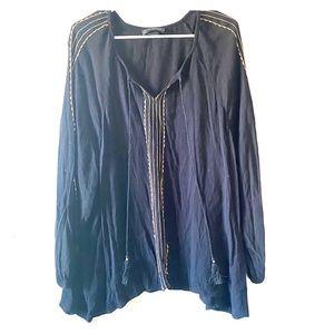 Lane Bryant bead detail tassel front blouse 22/24